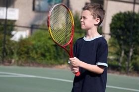 Anxious tennis child