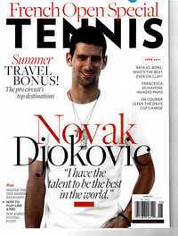 Novak Djokovic on the cover of Tennis Magazine