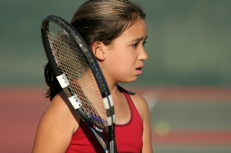 Frustrated tennis junior