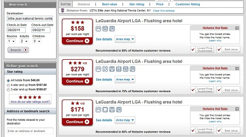 Hotwire search for a hotel
