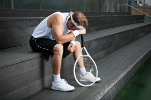 Disappointed tennis player