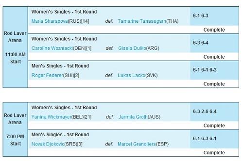 Australian Open 2011 Day 1 schedule