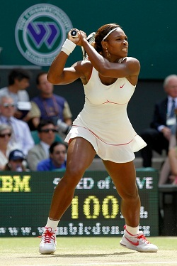 Serena Williams backhand at Wimbledon 2010