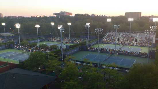 US Open tennis tournament at night